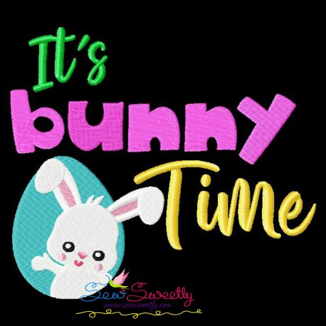 It's Bunny Time Lettering Embroidery Design Pattern- Category- Easter Designs- 1