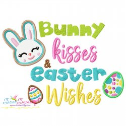 Bunny Kisses Easter Wishes-2 Easter Lettering Embroidery Design