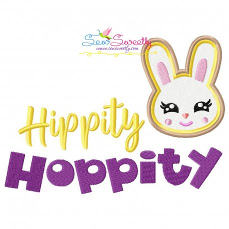 Hippity Hoppity Easter Lettering Embroidery Design Pattern- Category- Easter Designs- 1