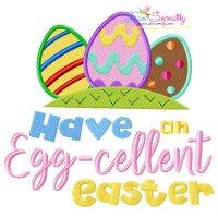 Have An Egg-cellent Easter Lettering Embroidery Design