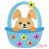 Easter Bunny Boy Basket Embroidery Design