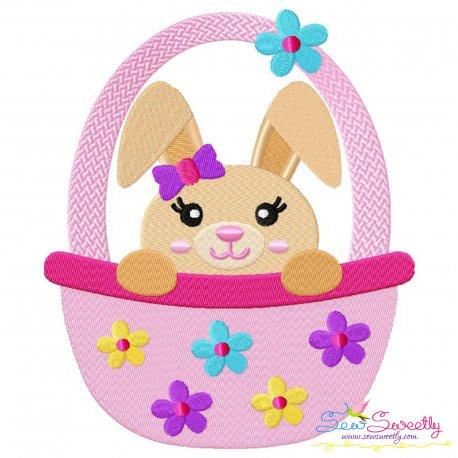 Easter Bunny Girl Basket Embroidery Design Pattern- Category- Easter Designs- 1