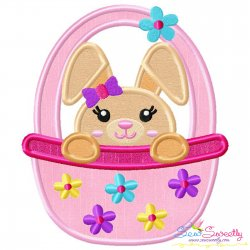 Easter Bunny Girl Basket Applique Design