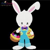 Easter Bunny Boy Eggs Basket Embroidery Design