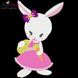Easter Bunny Girl Egg Carrot Embroidery Design