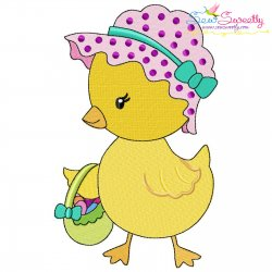 Easter Eggs Chick Basket-3 Embroidery Design