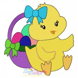 Easter Chick Eggs Basket-2 Embroidery Design