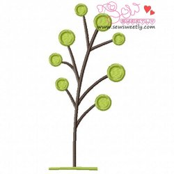 Retro Tree-6 Embroidery Design
