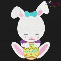 Easter Bunny Girl Egg-2 Embroidery Design