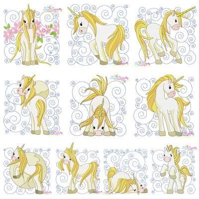 Golden Unicorn Blocks Embroidery Design Bundle Pattern- Category- Embroidery Design Bundles- 1