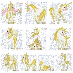 Golden Unicorn Blocks Embroidery Design Bundle