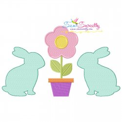 Bunnies With Flower Embroidery Design