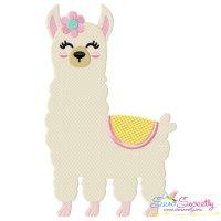 Spring Llama Embroidery Design