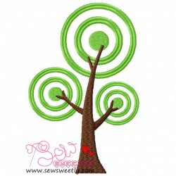 Retro Tree Embroidery Design