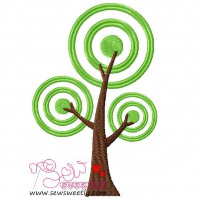 Retro Tree Embroidery Design