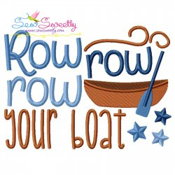 Row Row Your Boat Nursery Rhyme Embroidery Design