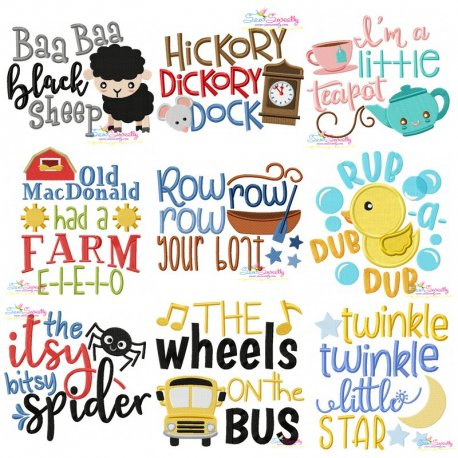 Nursery Rhyme Lettering-v1 Embroidery Design Bundle Pattern- Category- Embroidery Design Bundles- 1