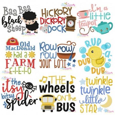 Nursery Rhyme Lettering-v1 Embroidery Design Bundle