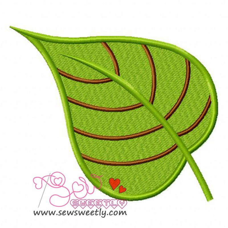 Green leaf machine embroidery design