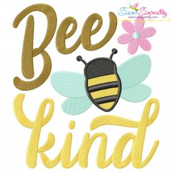 Bee Kind Spring Lettering Embroidery Design