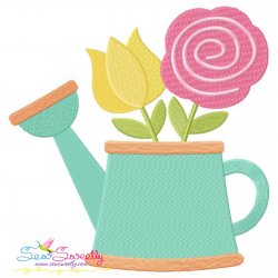 Watering Can Flowers-2 Embroidery Design