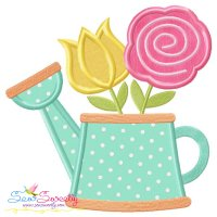 Watering Can Flowers-2 Applique Design