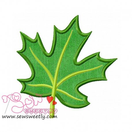 Green Maple Leaf Machine Applique Design For Summer And Nature Projects