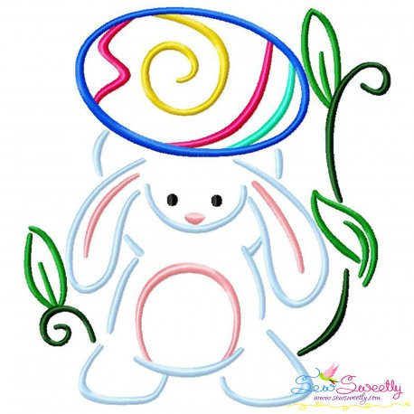 Bunny Carrying Easter Egg-03 Embroidery Design