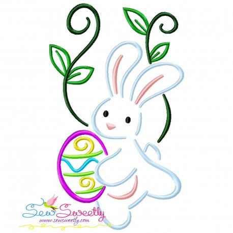 Bunny Carrying Easter Egg-01 Embroidery Design