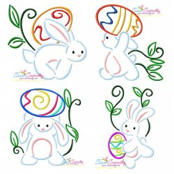 Bunny Carrying Easter Egg Embroidery Design Bundle