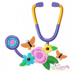 Flowers Stethoscope Lettering Embroidery Design