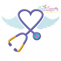 Stethoscope Wings Embroidery Design