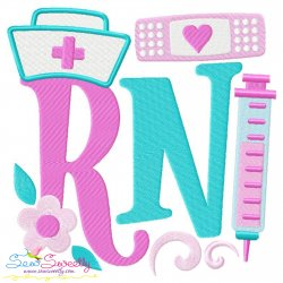 RN (Registered Nurse) Medical Lettering Embroidery Design