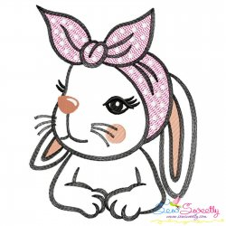 Bandana Easter Bunny Sketch Embroidery Design