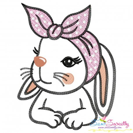 Bandana Easter Bunny Sketch Embroidery Design Pattern- Category- Easter Designs- 1