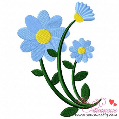 Blue Spring Flower Embroidery Design