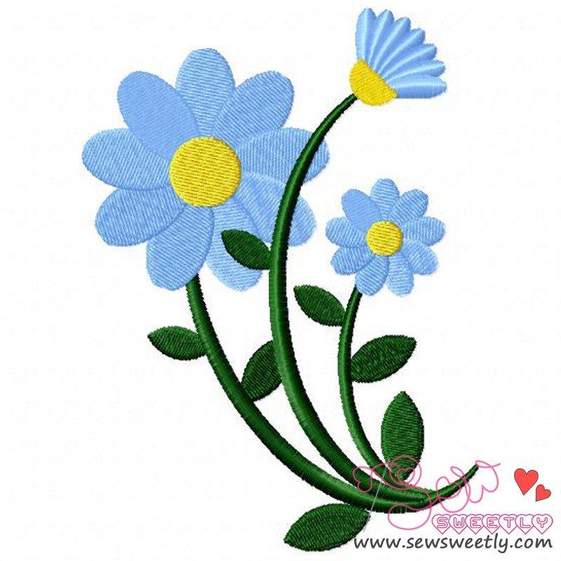Blue spring flower machine embroidery design