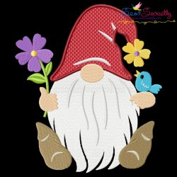 Spring Gnome Flowers Embroidery Design