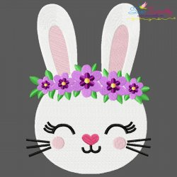 Easter Bunny Face Floral Embroidery Design