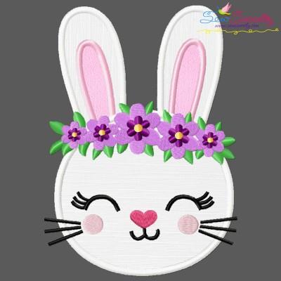 Easter Bunny Face Floral Applique Design