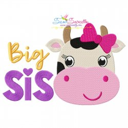 Cow Big Sis Embroidery Design