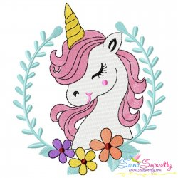 Unicorn Floral Frame Embroidery Design