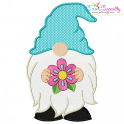 Spring Gnome With Flower Embroidery Design