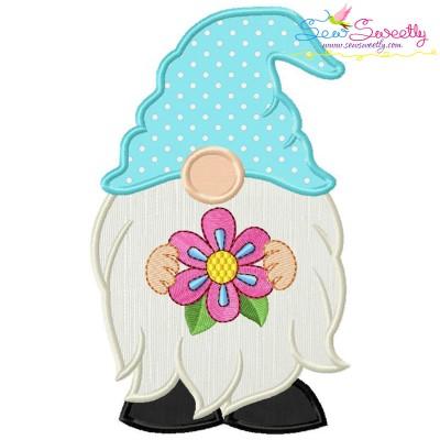 Spring Gnome With Flower Applique Design