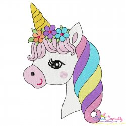Cute Unicorn Face Floral Embroidery Design