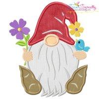Spring Gnome Flowers Applique Design