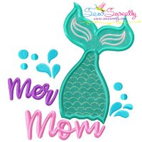 Mermaid Mom Tail Lettering Applique Design