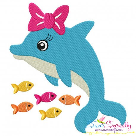 Cute Dolphin Bow Embroidery Design Pattern- Category- Sea Life Designs- 1