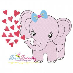 Baby Elephant Hearts Girl Embroidery Design