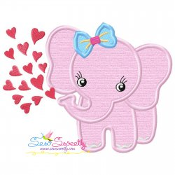 Baby Elephant Hearts Girl Applique Design